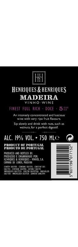 Henriques & Henriques, Finest Full Rich 5 jaar oud, Madeira